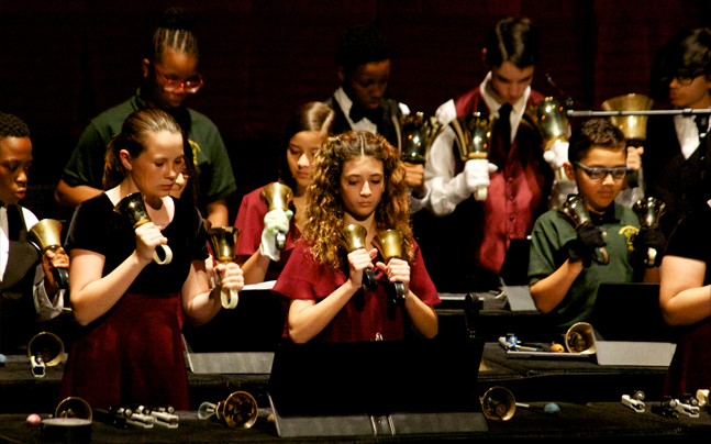 Spotlight on Young Musicians playing the handbells