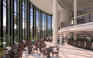 A rendering of the Dreyfoos hall lobby, expanded