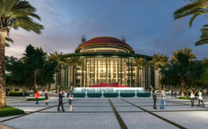 A rendering of the Kravis Center's new plaza at night