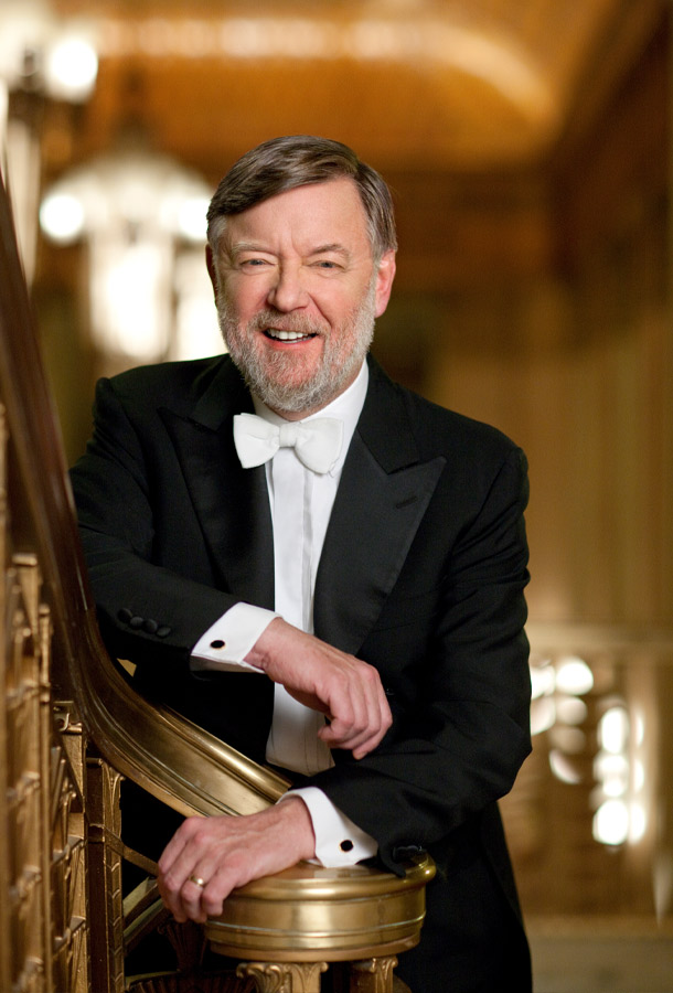 Sir Andrew Davis, Conductor of Philadelphia Orchestra posing