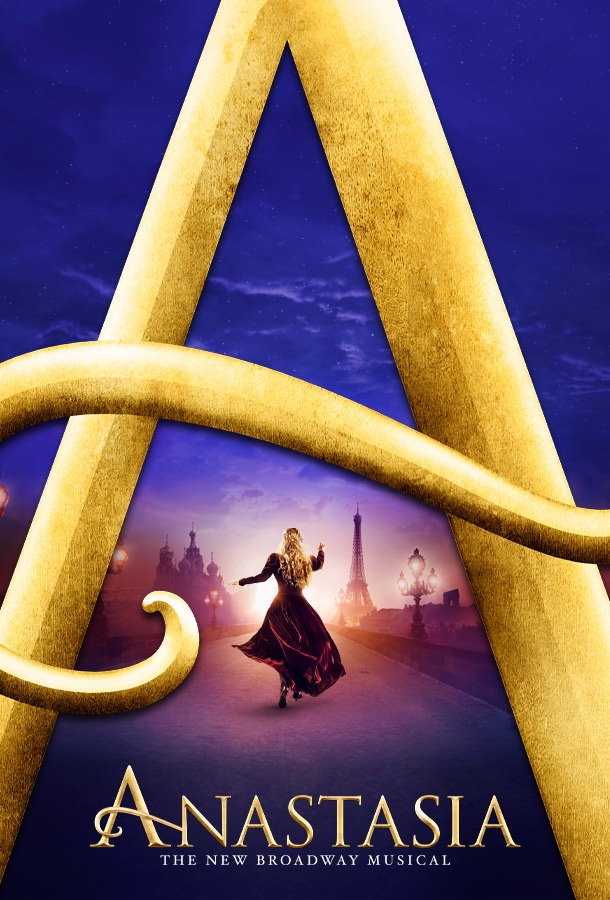 Anastasia The New Broadway Musical. Women walking away from a large A Letter on a street in Paris.