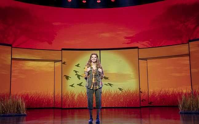Cady Herron standing center stage with an African sunset featured behind her.