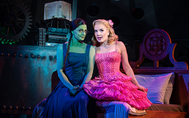 Elphaba and Glinda sitting together on a bed