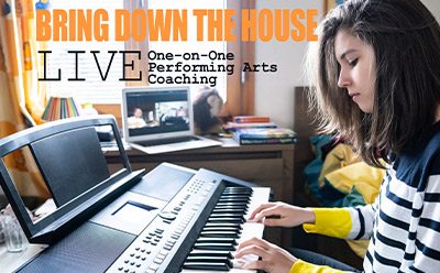 BRING DOWN THE HOUSE LIVE One-on-One Performing Arts Coaching. Girl at keyboard playing while laptop video conferencing