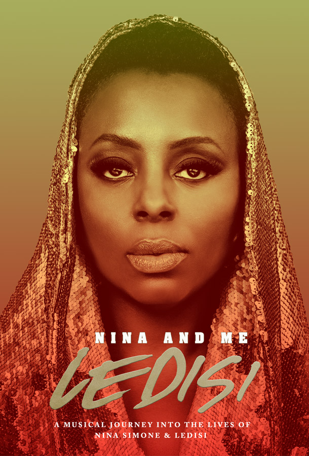 Nina and Me Ledisis a Musical journey into the lives of nina simone & ledisi. Headshot of Ledisi wearing a sequined cloth over her head