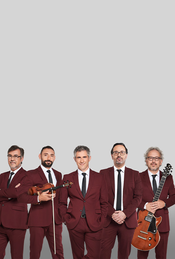 Quiteto Astor Piazolla group dressed in maroon suites with 2 members holding a violin and guitar.