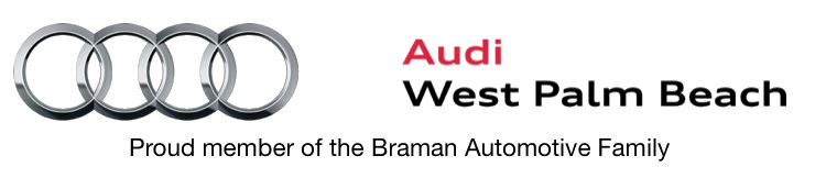 Audi West Palm Beach. Proud member of the Braman Automotive Family. 4 interlocking silver rings.