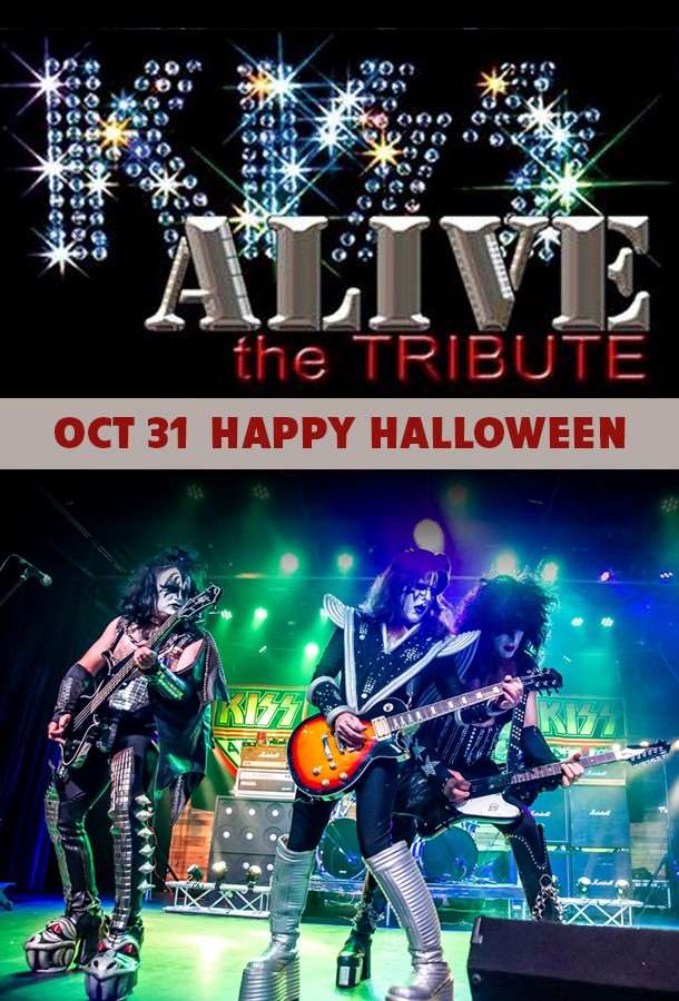 KISS ALIVE The Tribute Oct 31 Happy Halloween. Band on stage jamming on stage