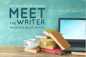 The Kravis Center Presents: Meet the Writer Women's Book Series. A pile of books next to a computer.