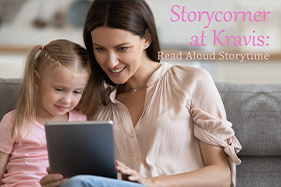 Storycorner at Kravis Read Aloud Storytime. Woman and child sitting on couch reading an tablet.