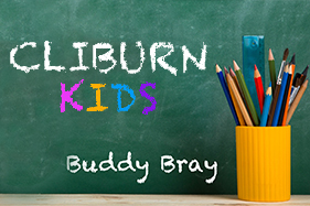 CLIBURN KIDS. Buddy Bray. Written on chalk board next to color pencil holder.