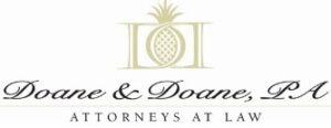Doane & Doane Attorneys at law. Decorative pineapple by columns.