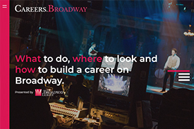 Careers Broadway. What to do where to look and how to build a career on Broadway. Stage production in background..