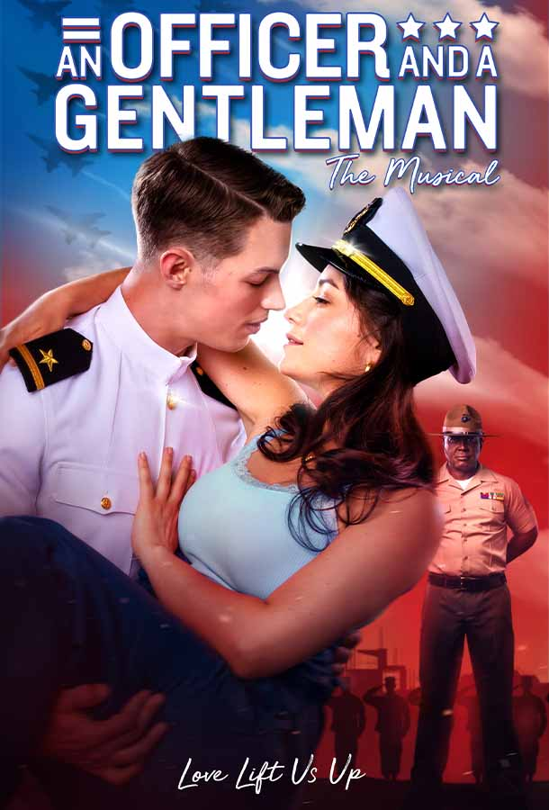 An Officer and a Gentleman A new musical. Love lift us up. Navy sailor carries laughing women with officer hat in his arms.