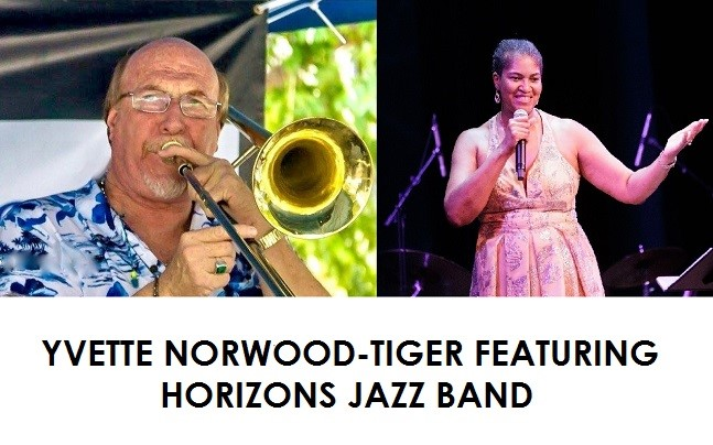 Yvette Norwood Tiger Featuring Horizons Jazz Band. singing on stage.