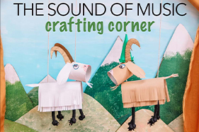 paper crafted goats on mountain side. The Sound of Music Crafting Corner