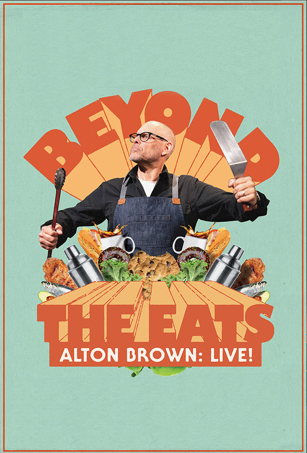 ext reading-Alton Brown: Live! Beyond The Eats. a man holding kitchen utensils
