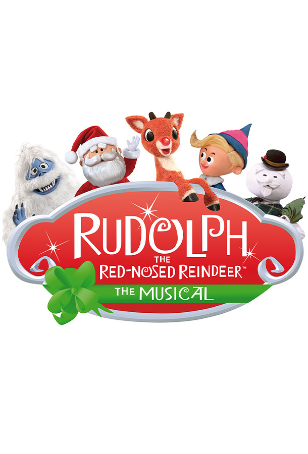 Rudolph the Red-Nosed Reindeer the Musical. Cartoon reindeer, Santa Claus, a boy, a snowman and Yeti posing on the cover photo